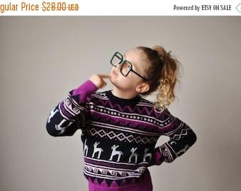 ON SALE 1970s Diamond Reindeer Sweater~Kids Size 10/12/14