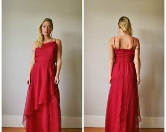 25% OFF SALE 1960s Asymmetrical Cranberry Gown >>> Size Medium