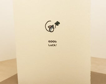 Good Luck! Mouse four leaf clover luck Greeting Card Cute Adorable Kawaii Sentiment textured edge made in Canada Toronto