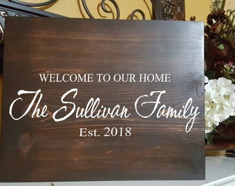 Personalized Family Last Name and Year Wood Sign- Welcome to Our Home Wedding Shower Gift Sign - Wedding Rustic Signs - Home Decor (2 sizes)