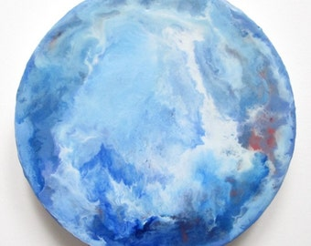Water World, Encaustic circle, blue marble, earth from above, moon, blue earth, climate change art