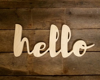 Wood hello sign, Wooden Letters,  unpainted wooden wall hanging