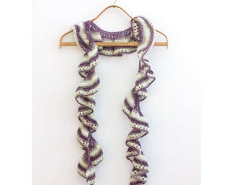 Spring Lace Scarf, Ruffled Scarf, Hand Knit Scarf, Pastel Purple, Green White, Ready to Ship, Evening Scarf
