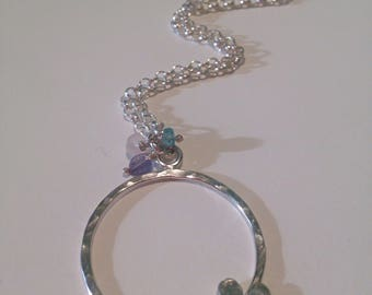 Silver circle heart pendant, long pendant, heart necklace