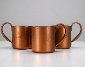 Moscow Mule Copper Mugs Set of 3 Cock 'N Bull Products Personalized for Flo and Gene