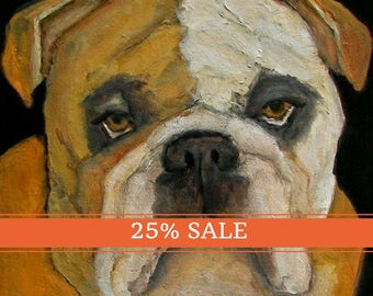 25% OFF SALE!  BULLDOG Dog Puppy Art Colette W. Davis 4x4 Art Giclee print