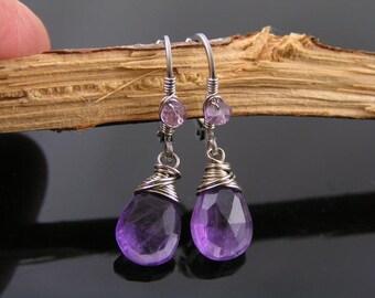 Amethyst Earrings, Wire Wrapped Silver Earrings, February Birthstone Earrings, Hypoallergenic Earrings, Amethyst Jewelry, Purple Earrings