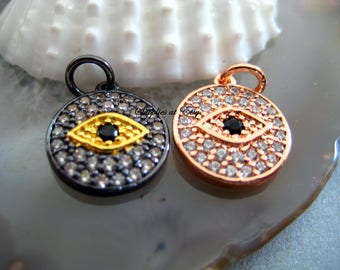 Silver Micro Pave cz Evil Eye Disc Charm-Gold Micro pave CZ Connector Charm-Turkish evil eye-Ships from USA-Protection,Hippie findings