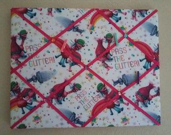 Trolls Glitter Memo board with Glitter Photo Clips/Trolls Bedroom/Trolls Wall
