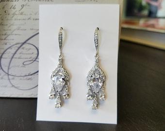 Crystal Earrings, Teardrop Dangle Earrings, Wedding Jewelry, Bridal Jewelry, Chandelier Earrings, One World Designs