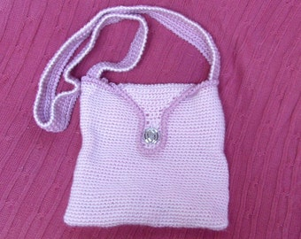 SALE * Bag handbag cross-body purse pink hand crocheted one-of-a-kind medium size