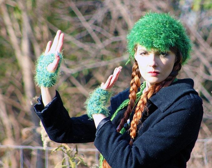 Sparkly Green Newsboy Beanie Tam Hat, Skinny Scarf and Fingerless Texting Glove Set Fuzzy Soft Billed Rasta Long Gift for Girls Teens  Women