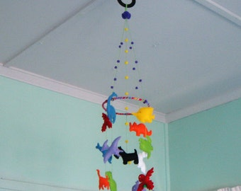 Felt nursery mobile with parrots,whale,turtle, dinosaurs,rhinoceros,rabbit,fish,dog, cat,dolphin,pterodactyl