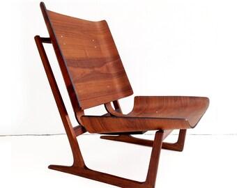 Vintage Danish Bent Plywood Lounge Chair Grete Jalk