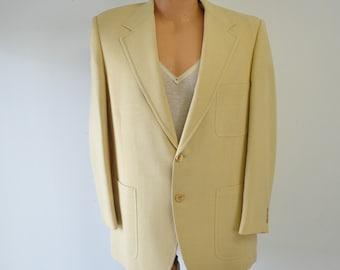 vintage 1970s creamy yellow sportscoat / Bradmore / Woolf Brothers / mans blazer / vintage sportscoat