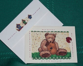 NOTECARDS--More Loveable Bears in Fabric Applique