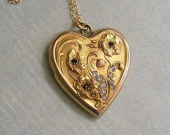 Antique CQ&R Heart Locket Necklace With Flowers and Paste Stones, Art Nouveau Locket Necklace, Gold Filled Locket; Gift for Her