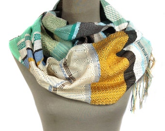 Jude | Handwoven Turmeric & Mint Vegan Scarf | Weaving Gifts for Women | Handmade Pastel Woven Textile | Colorful Striped OOAK Shawl | H18