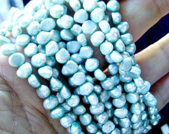PEARLS, NATURAL, Baroque,  Potato,Shape, Side Drill, 16 Inch, Mint, Green
