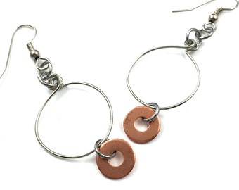 Drop Hoop Earrings Copper Hardware Jewelry