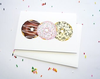 Donut Trio Greeting Card for Doughnut Lovers - Set of 6 featuring Chocolate, Vanilla, Pink with Sprinkles, Swirls, and Frosting