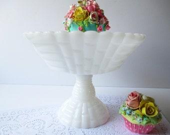 Vintage Jeannette Large Milk Glass Compote/Fruit Bowl
