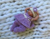 Hand crocheted doll dress pants hat for 4-5 inch dolls