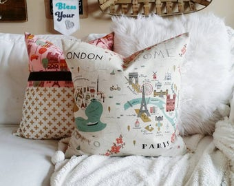 Paris Pillow Cover - Neutral Decor - Rifle Paper Co