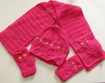 Owl Hat, Gloves and Scarf Crochet set - Pink - Owl Hat - Owl Scarf - Owls - custom order - Gloves - Buttons - Crocheted - Handmade