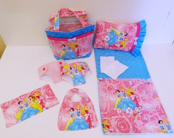 Bitty Baby Basics in Disney Princesses - Diaper Bag and Diapers with Blanket and Pillow for doll