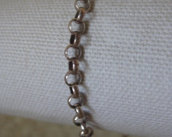 Round Link Sterling Bracelet Chain Silver Vintage 925 Italy AERO