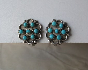 Flower Turquoise Sterling Earrings Clip Vintage 925 Southwest Stone