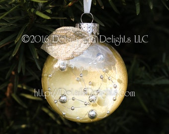 SALE!!! Gold & Silver Bead Glass Disk Ornament, Gold Silver Shimmer Fabric Leaf, White Ribbon, Hand Painted, Christmas Holiday Tree Decor