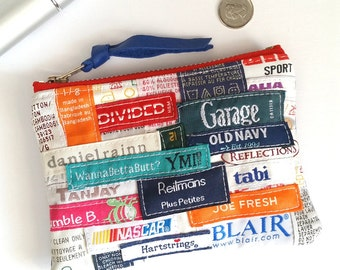 UPCYCLED Label Change Purse. Recycled Clothing Labels. Leather Coin Purse. Fashion Labels. Ready To Ship.