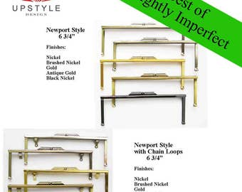 """SAVE 50%  Set of 5 Frames - 6 3/4"""" Modern Newport Style Frames - BEST of Slightly Imperfect Clutch Purse Frames - Ships from USA"""