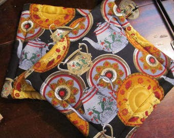 Pair  Potholders Dishes and tea pots  all over the Fabric  2 Cotton Pot Holders / Trivets