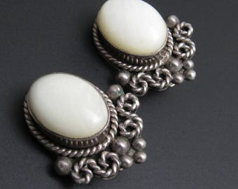 Vintage Sterling Earrings Clip On White Jewelry E7748