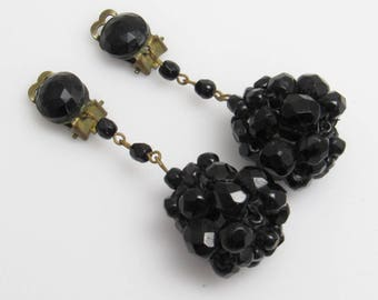 Long Black Ball Earrings Vintage Bead Jewelry Clip On E7762