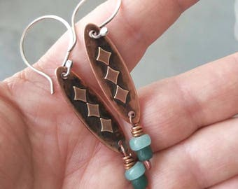 Rustic Copper Earrings with Green Glass Beads