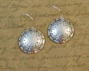 """Sterling Silver 7/8"""" disk earrings, hammered, handstamped, finial dot edge texture, western, cowgirl, rustic, simple, everyday, bytwilight"""