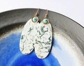 Lichen -  Moss Agate Slice Earrings