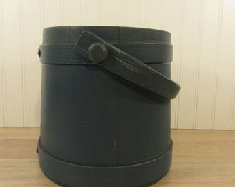 Vintage blue painted wood firkin with handle- no lid- nice condition, ready to use