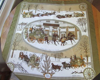 Hermes Silk Scarf, 'L'HIVER EN POSTE', Created by Philippe Ledoux, 1975, Unused Condition, Made In France, Bull & Mouth Western Coach Office