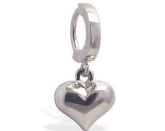 Sterling Silver Puffed Heart Belly Button Ring Exclusively by TummyToys (65007)