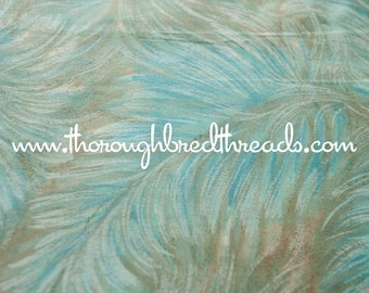 """Turquoise Leaves - Vintage Fabric 50s 60s 36"""" wide New Old Stock"""