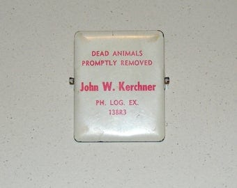 Vintage Advertising Dead Animals Promptly Removed John W Kerchner Metal Large Paper Office Clip