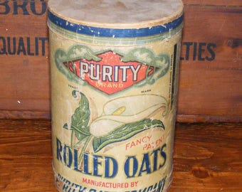 Antique Purity Rolled Oats Container Litho Cardboard Canister