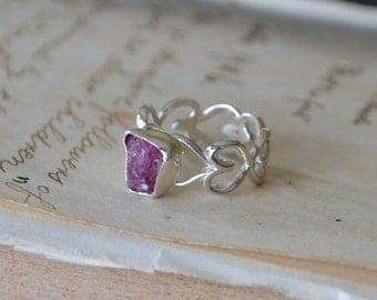 Natural Raw Ruby Heart Ring