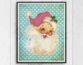 Jolly Santa, Printable Wall Art, Retro Santa, Printable Art, Christmas Decor, Downloadable Art, CalicoCollage, Wall Decor, Santa Wall Decor