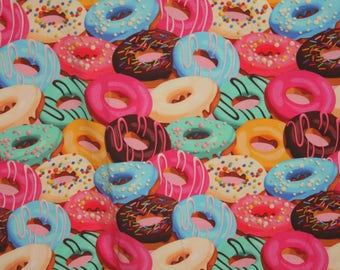 Donuts euro oeko tex knit 1/2 yard cotton lycra new